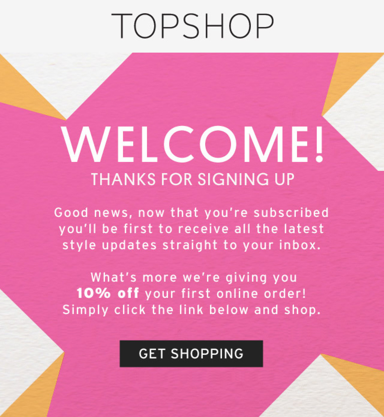 Topshop – Welcome Transactional Email