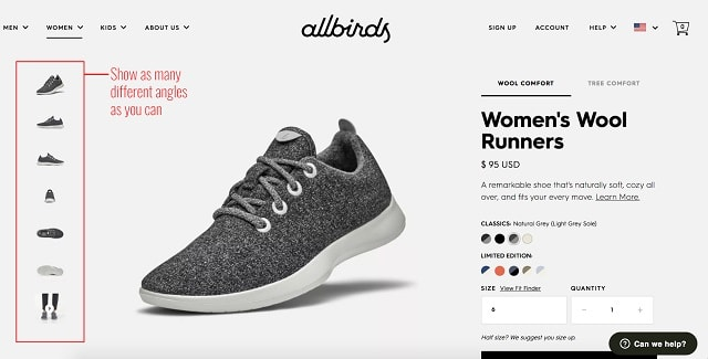 eCommerce Product Pages Shoes