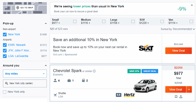 The 10 Best Sites for Cheap Last-Minute Online Car Rentals kayak 670x349