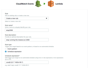Create a new CloudWatch rule