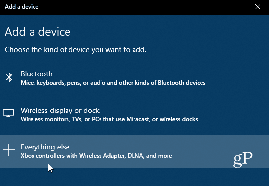 Choose Type of Bluetooth Device