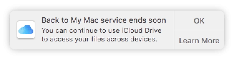 Apple Alerting Customers to Upcoming Discontinuation of Back to My Mac in macOS Mojave | Mac
