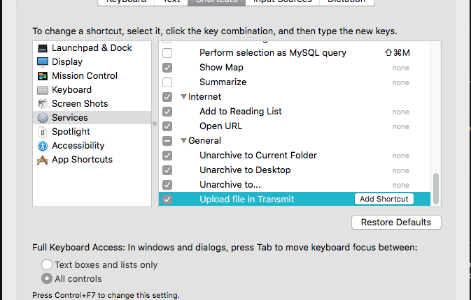 Automator workflow not showing up under Services tab in Keyboard shortcuts | Mac