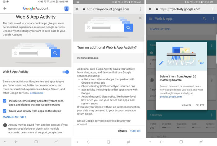 google privacy checkup web app activity