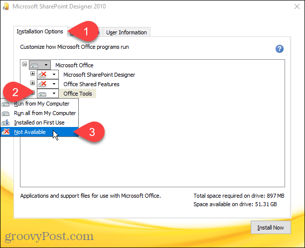 Select Not Available for all modules in Sharepoint Designer 2010 installation