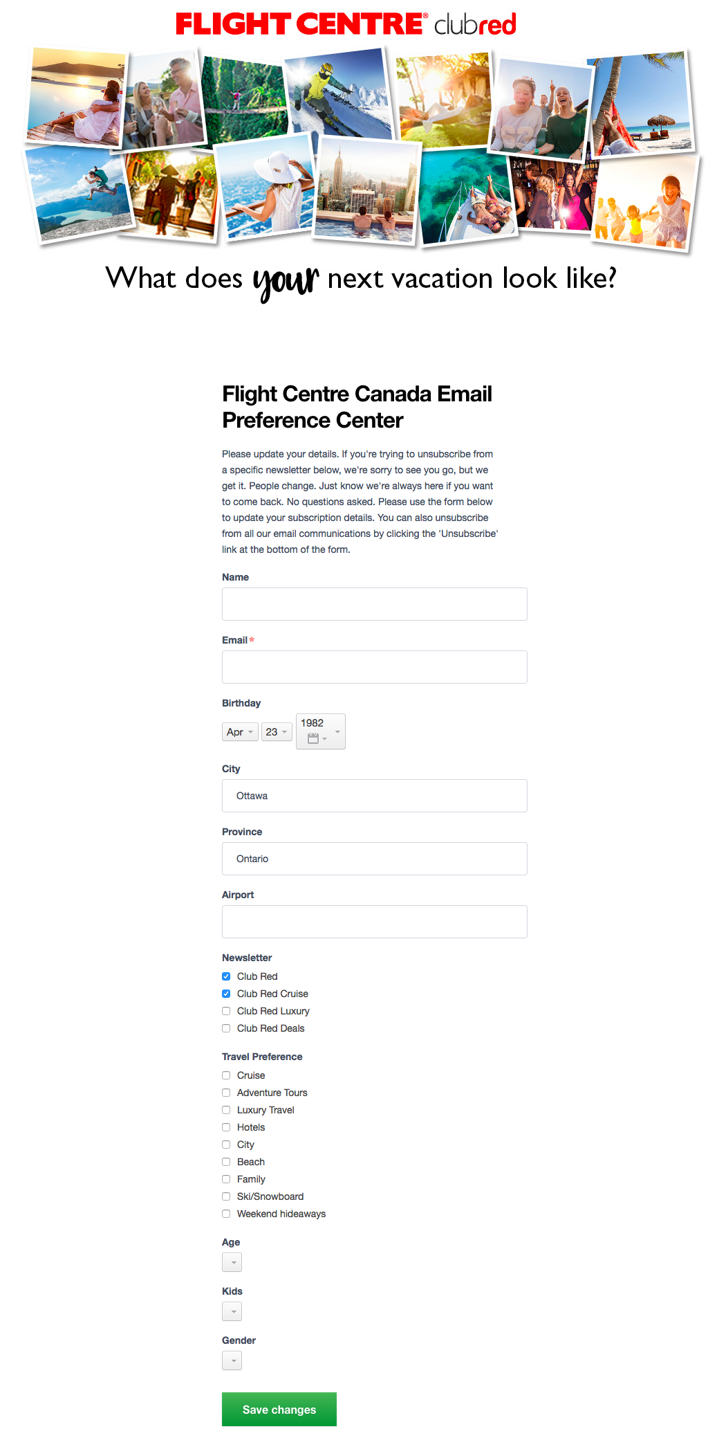 Flight Centre – Email Preference Center