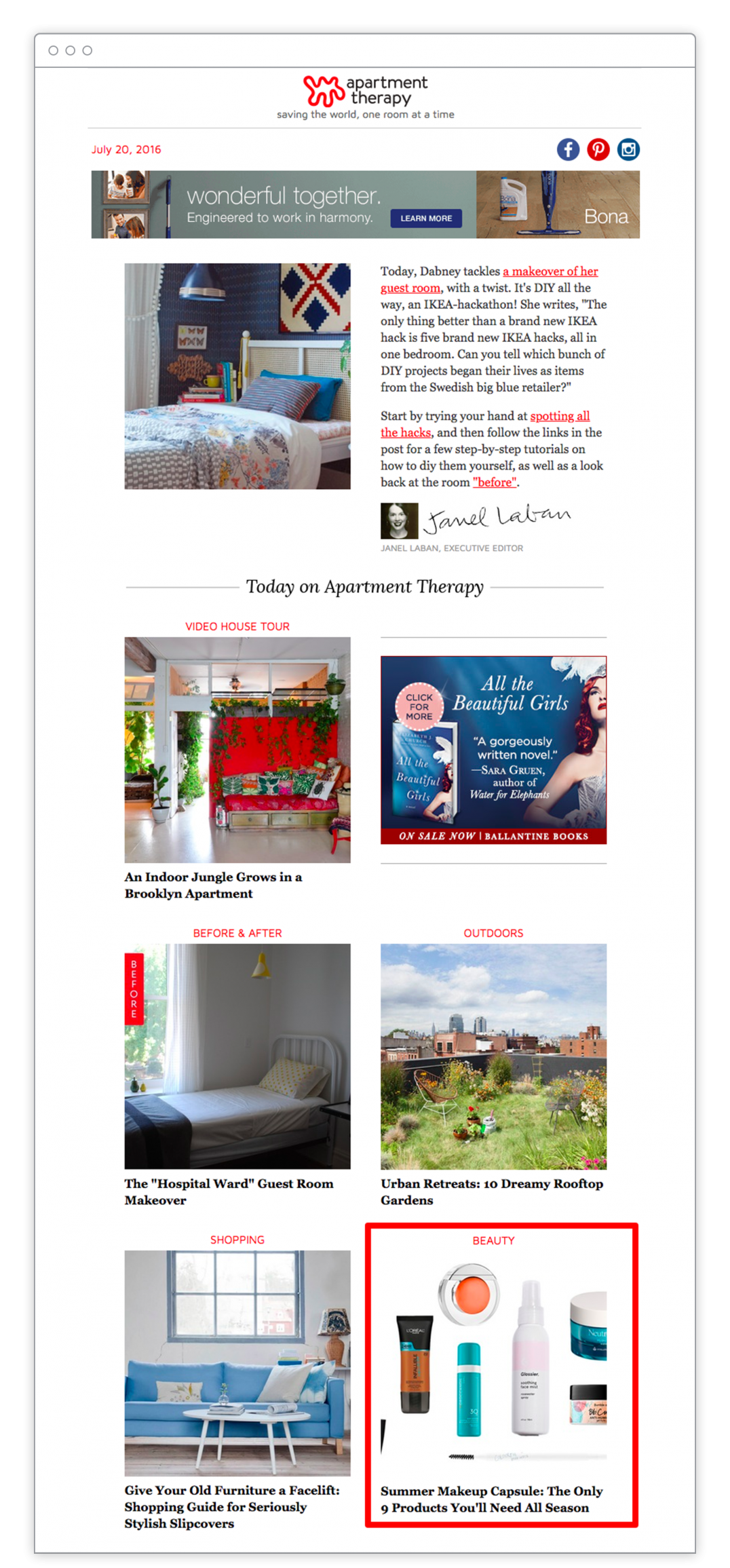 Apartment Therapy – Email Newsletter – Sponsored Content