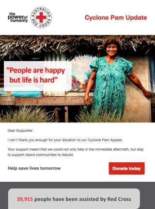 Red Cross – Nonprofit Email Marketing - Content