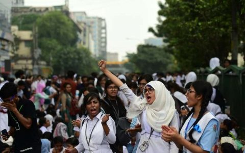 Bangladeshi students are protesting poor road safety after two teens were killed by a speeding bus