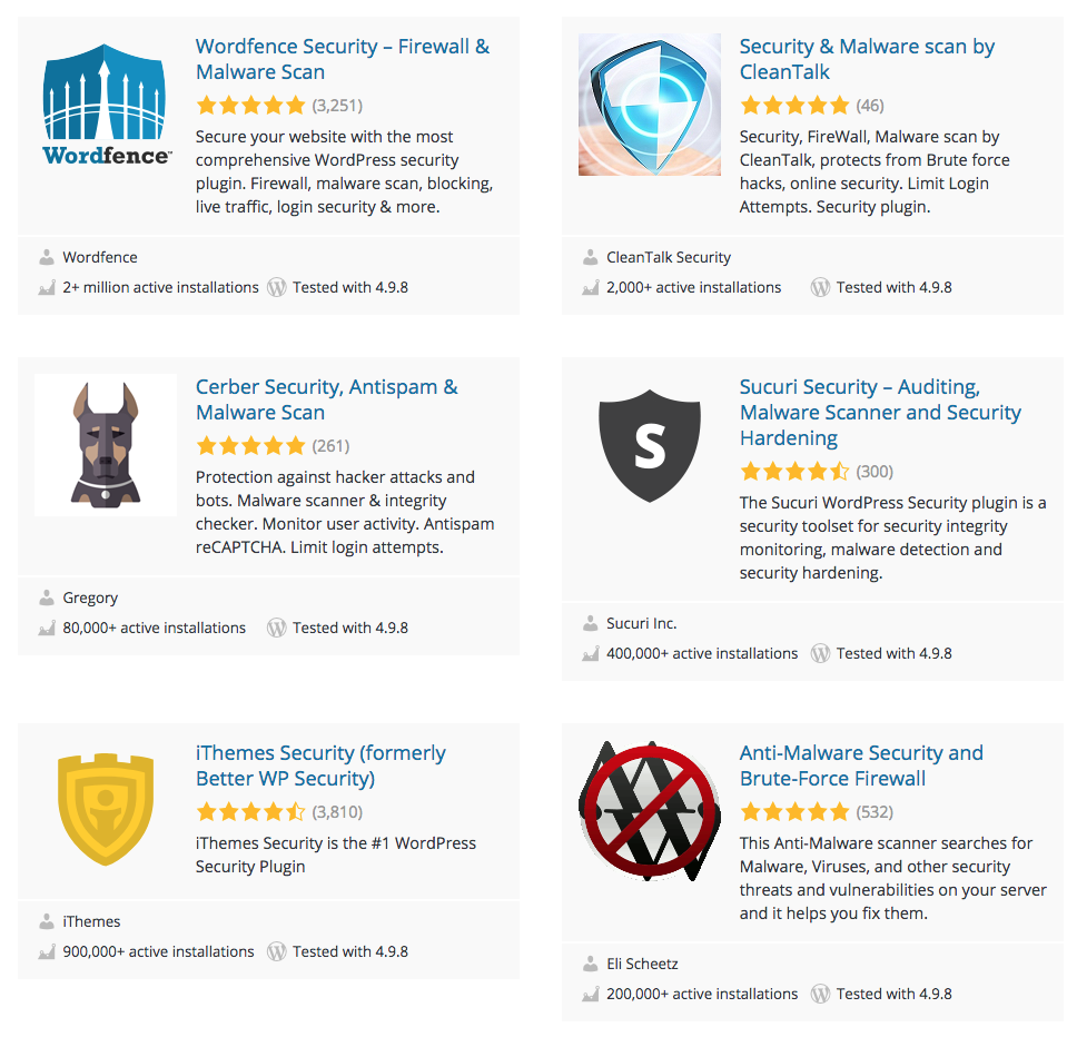 WordPress Security Plugins Listed on WordPress.Org