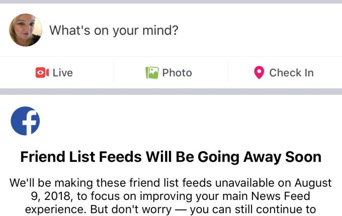Facebook is shutting down Friend List Feeds today | Social