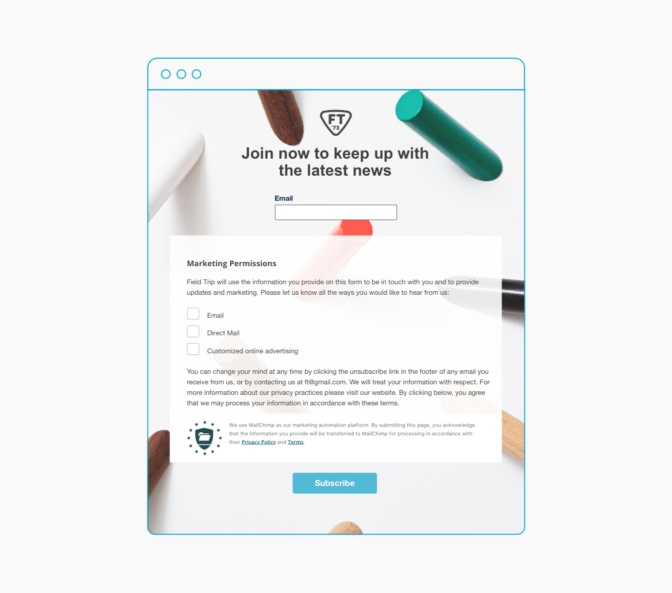 Landing page that says join now to keep up with the latest news and includes GDPR form with fields, legal text, and privacy policy and terms text.