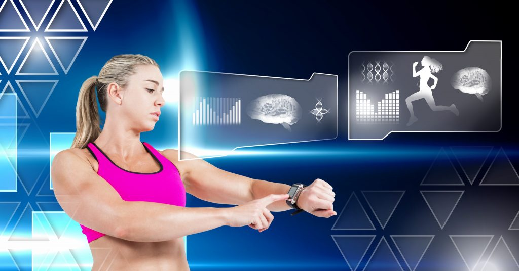 Digital composite of Human health and fitness interface and woman with smart watch tracking