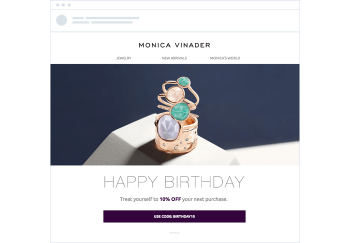 Monica Vinader personalized email