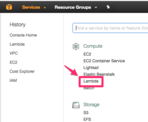 Select Lambda under the EC2 Service menu