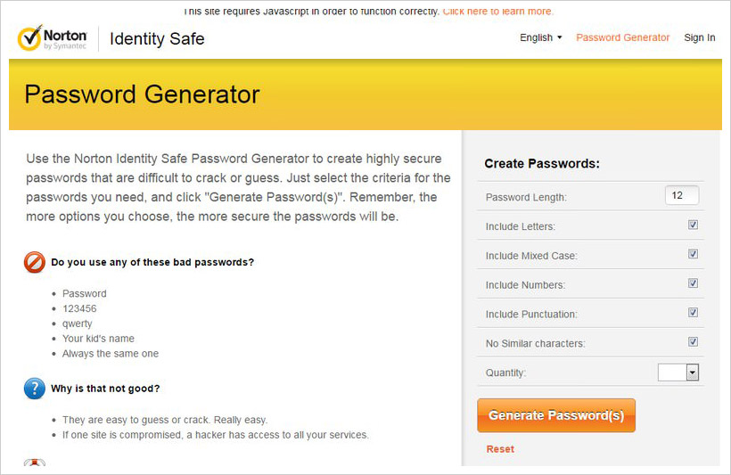 norton password generator