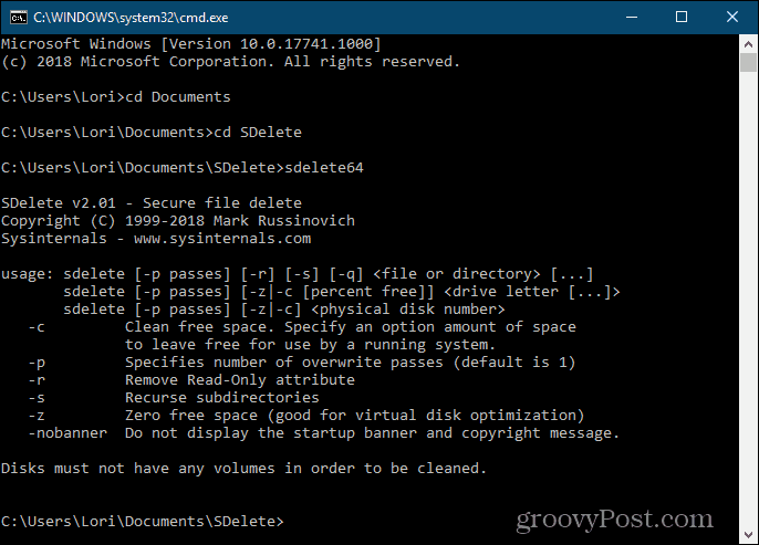 SDelete command line secure deletion tool for Windows