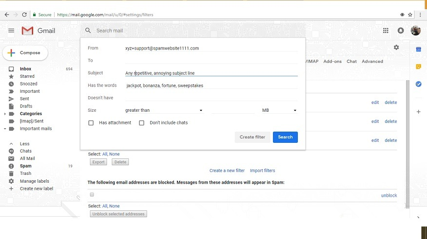 Sample Gmail filter with alias entry