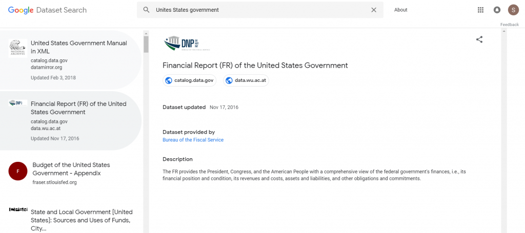 Google Dataset Search Government