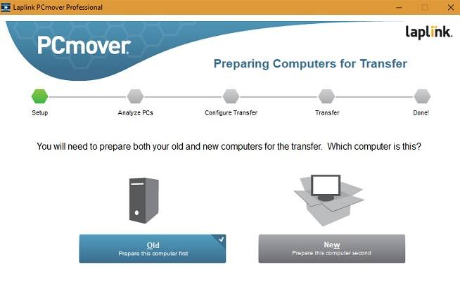 Old or new PC in PCmover
