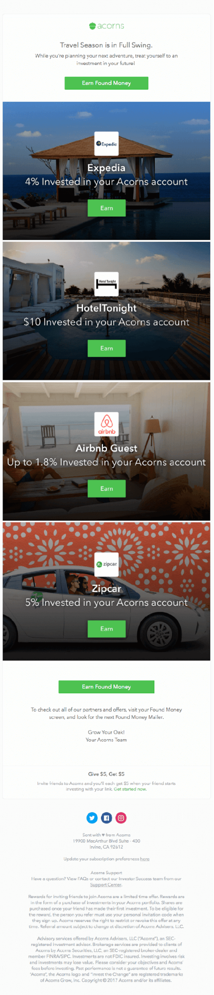 Acorns Partner Referral Email