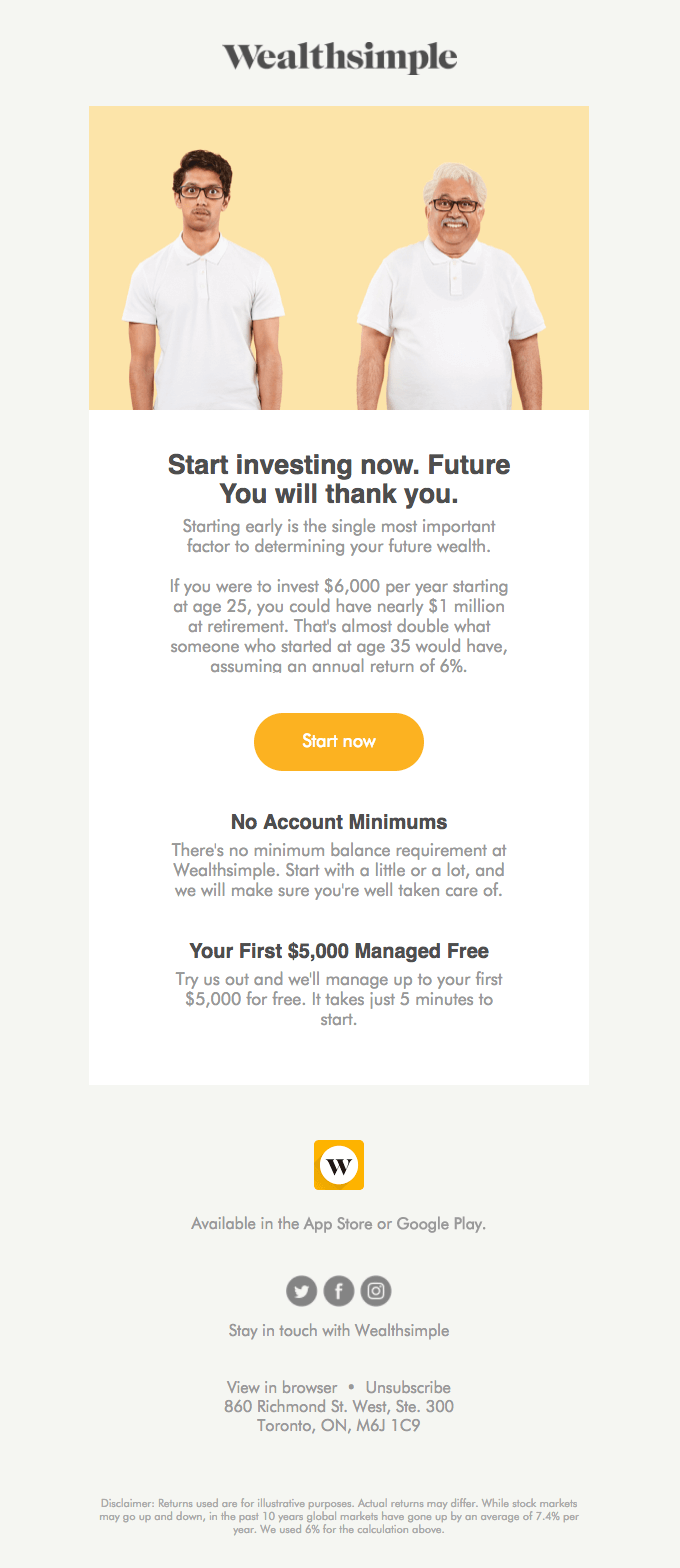Wealthsimple Promotional Email