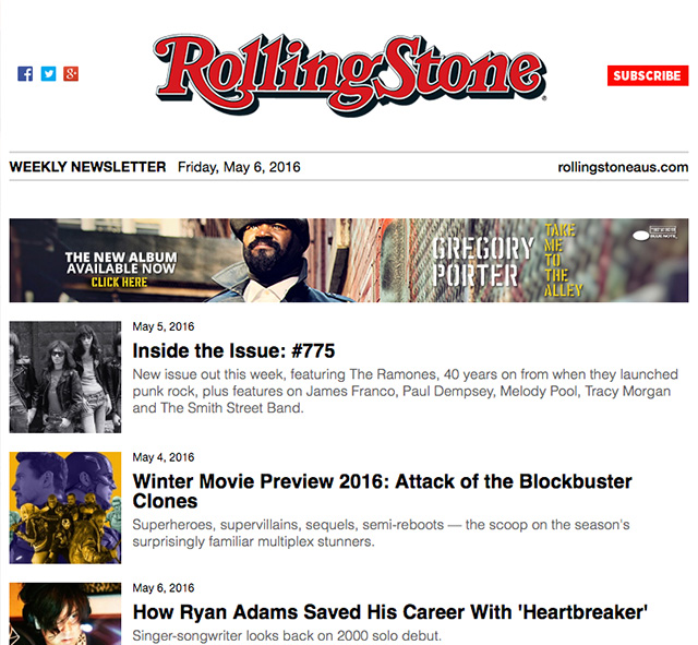 rolling stone email newsletter with banner ad