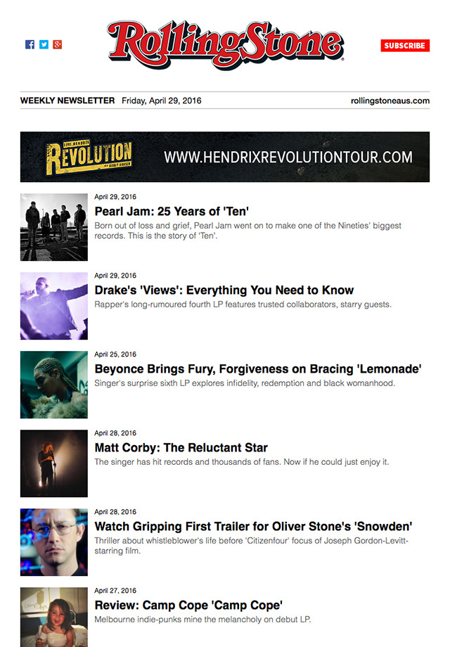 rolling stone email newsletter with articles