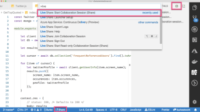 vs code with boxes drawn around the different parts of the UI that can be used to start a live share session