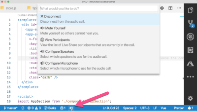 vs code options showing options like mute and disconnect for live share audio extension