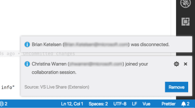 vs code notification with the name of the person who has joined the live share session