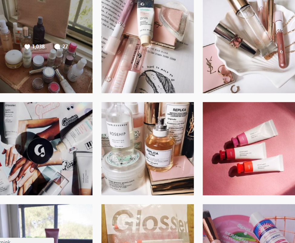 Glossier successful ecommerce strategy on instagram
