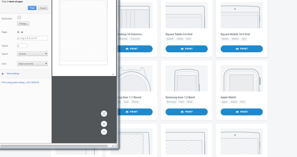 gridprint prototyping homepage