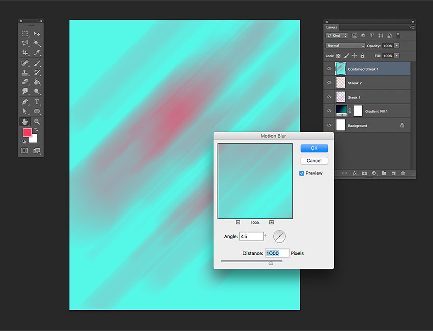 Create a new layer Using the bucket tool color the layer Using the brush tool and a different color brush over the document Apply the motion blur filter