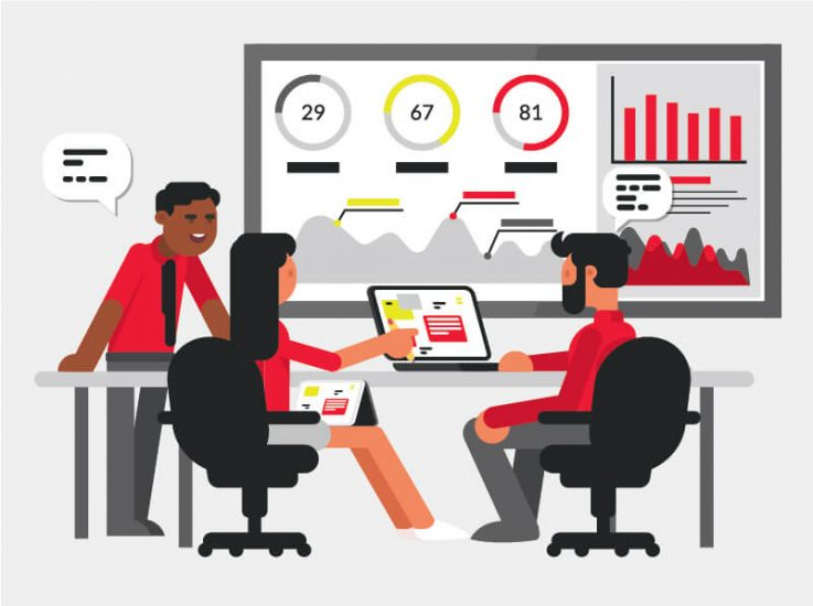 AI and Machine Learning Assisting Business in Needs Illustration