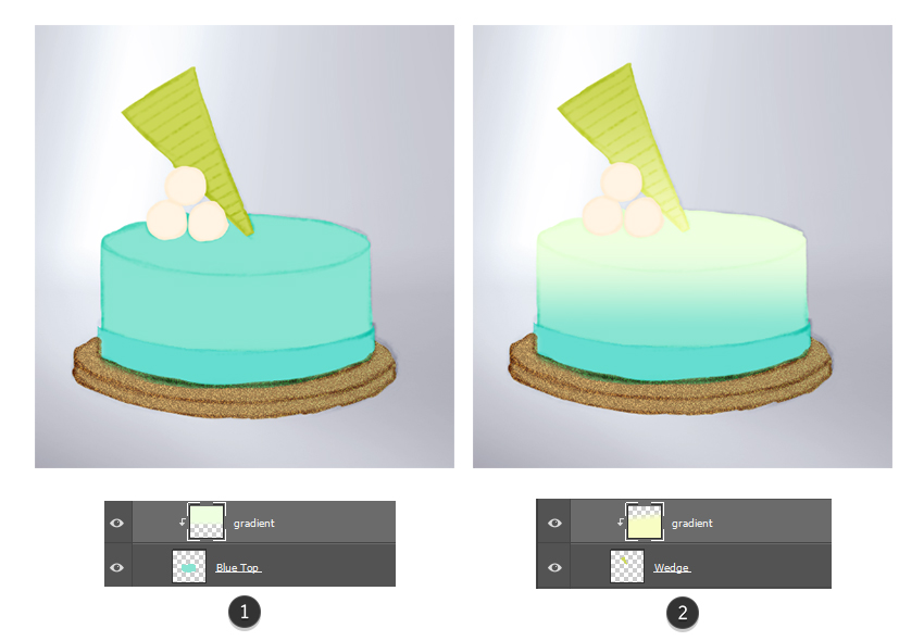 Paint gradients onto the cake