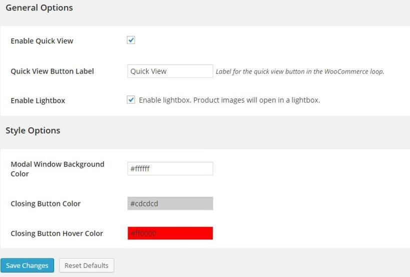 Settings of YITH WooCommerce Quick View