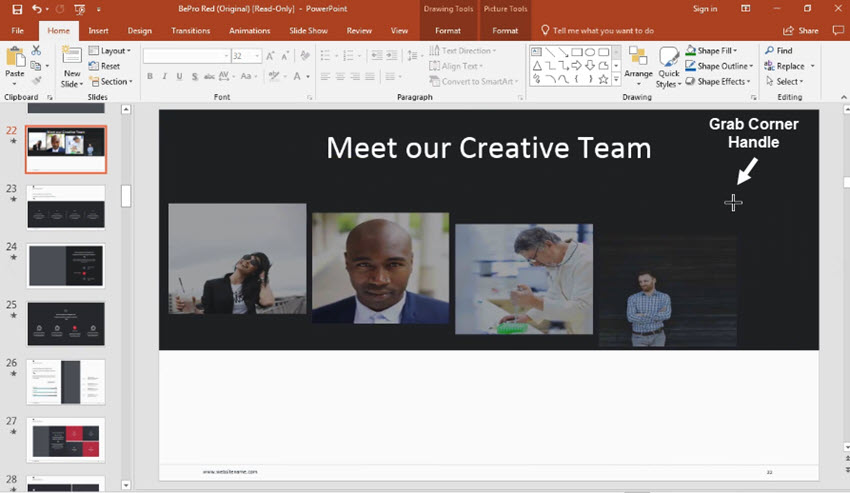 resize powerpoint group objects
