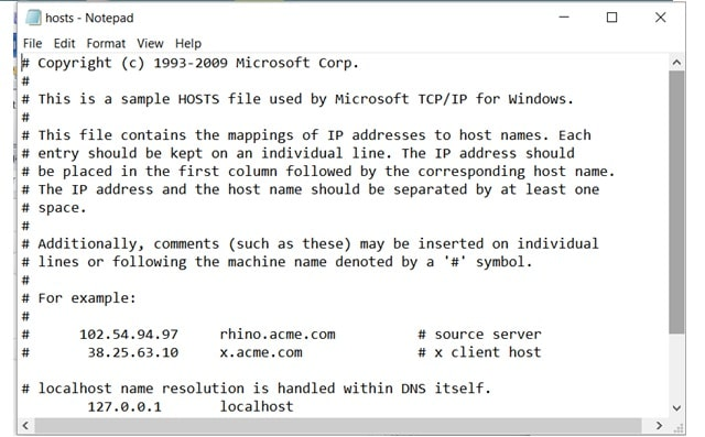 Hosts File Notepad
