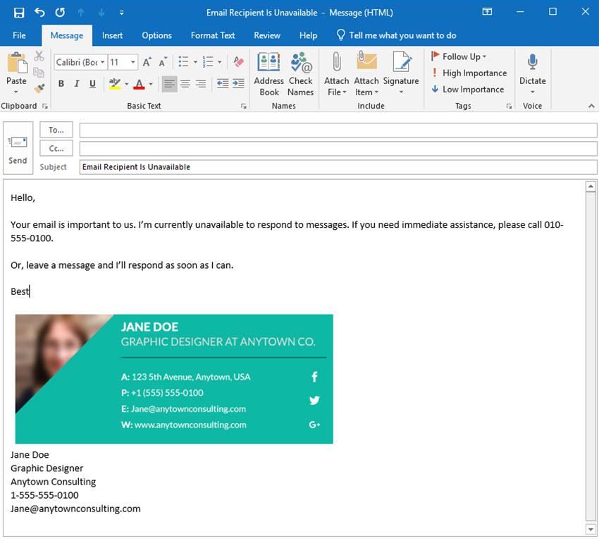 away message in Outlook