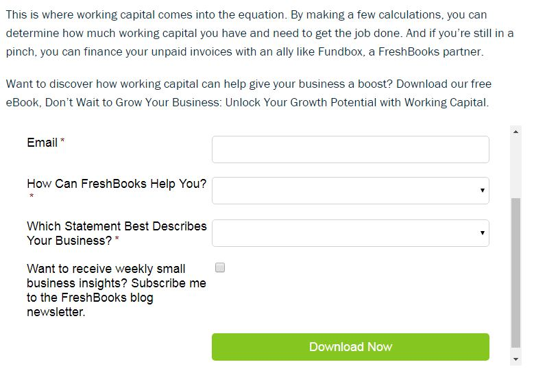 FreshBooks - Collect Email Addresses Onlin