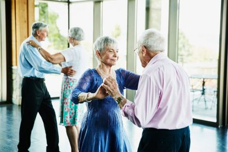 Older people dancing