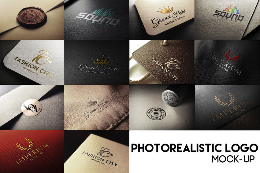 Photo realistic logo mock up pack
