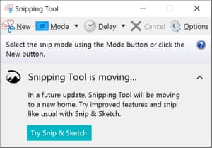 The long-standing Snipping Tool is marked for death.