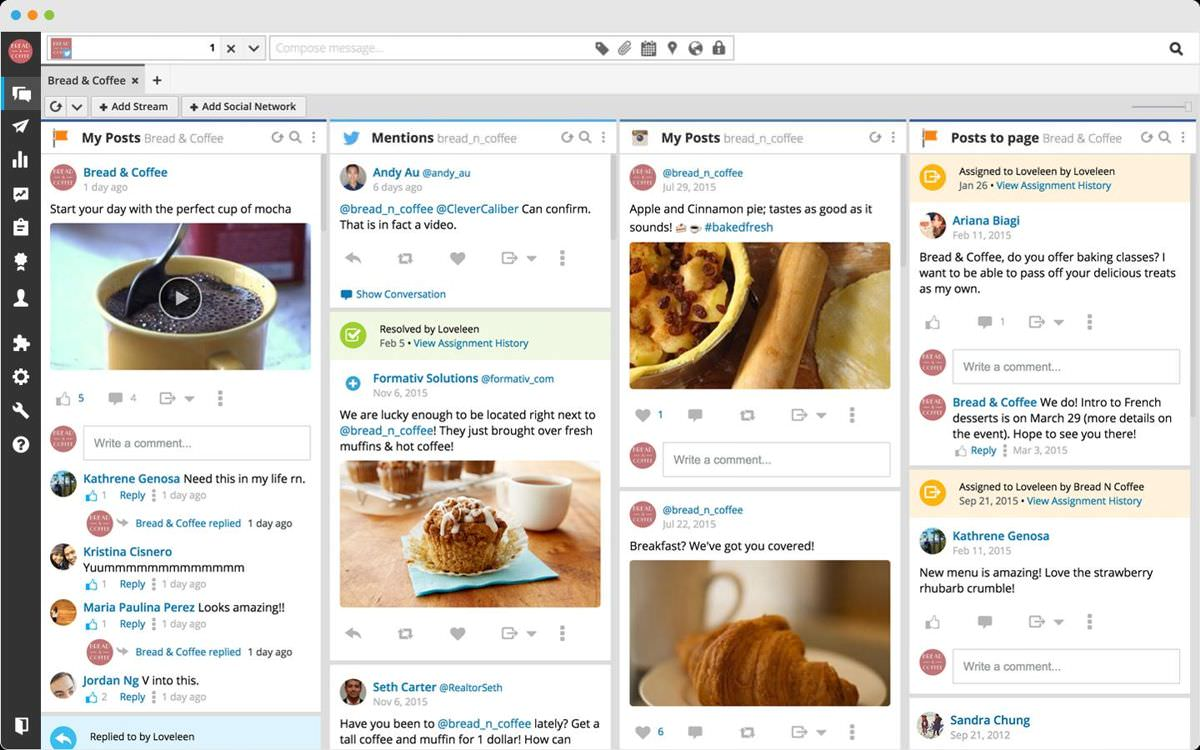 Hootsuite's dashboard shows scheduled posts