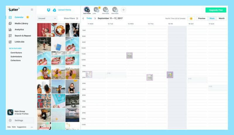 Later's calendar view showing posts
