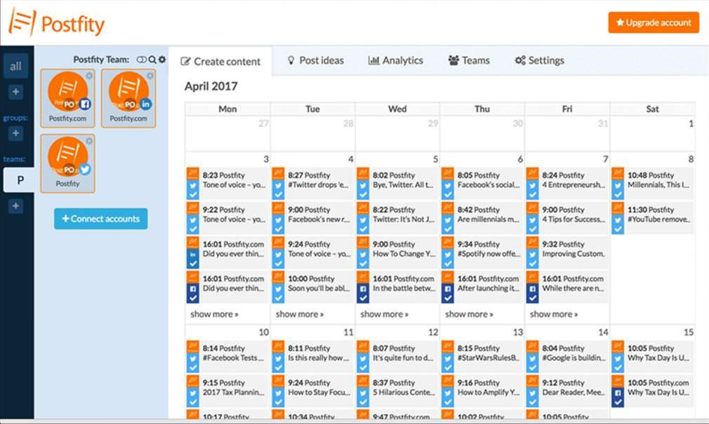Postfity shows scheduled posts in calendar view