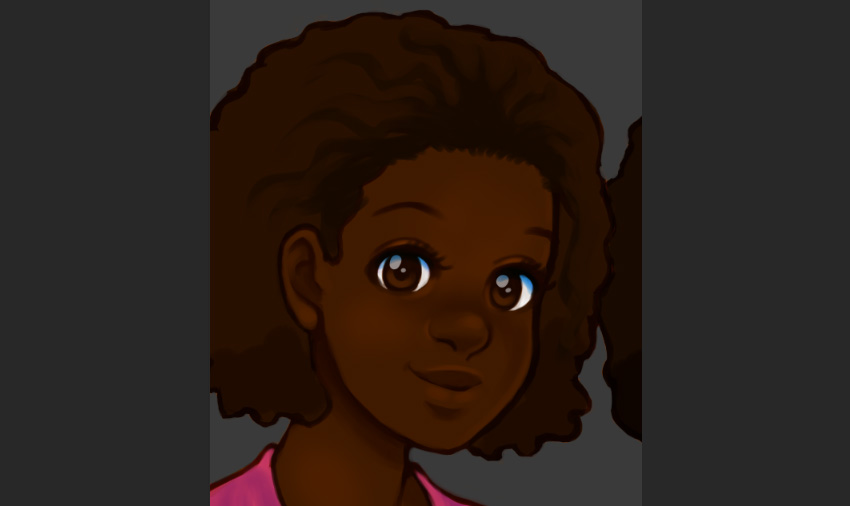 Adding dark values at the hair line