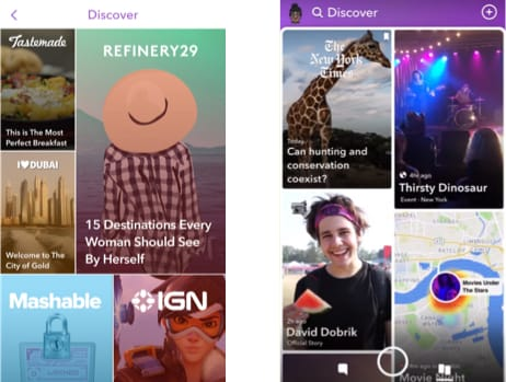 Screenshots from before and after Snapchat's redesign show a drastically different interface that confused many users.