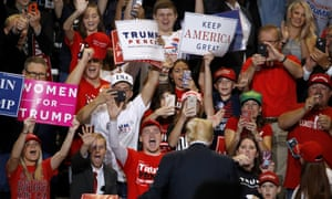 President Donald Trump greets the crowd during a campaign rally Friday, Sept. 21, 2018, in Springfield, Mo. (AP Photo/Charlie Riedel)